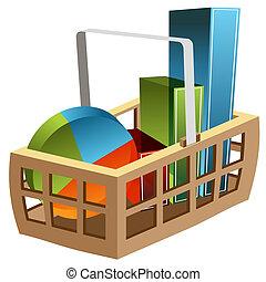 3D Business Chart Basket - An image of a 3d business chart...