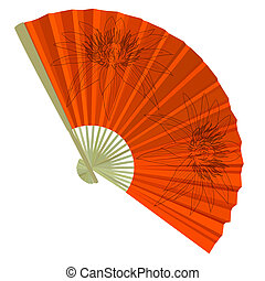 traditional Folding Fans with a flower Vector illustration