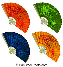 Set traditional Folding Fans with flowers. Vector illustration.