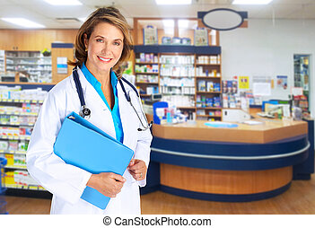 Pharmacist woman Health care background