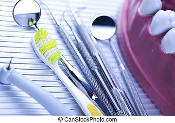 apparecchiatura, dentale, attrezzi