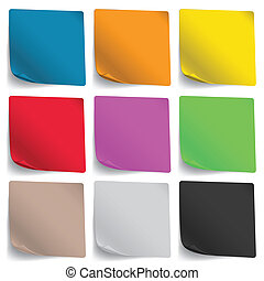 Note Paper  - Multicolored Note Paper on white background
