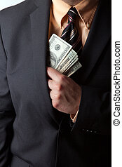 Dishonest Businessman - Close up of a business mans hand...