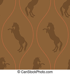 Horse seamless pattern - horse on its hind legs in a...