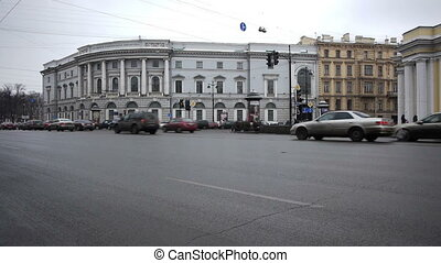St. Petersburg, Russia, Nevsky Prospect traffic