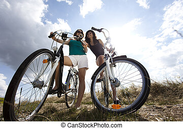 Girls on bike tour, enjoying