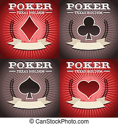 Set of Poker Backgrounds - Set of poker game backgrounds...