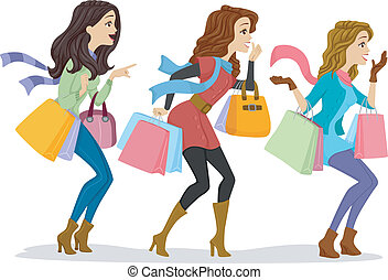 Shopaholics - Illustration of Girls Carrying Shopping Bags...