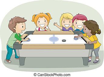Air Hockey - Illustration of a Group of Kids Playing Air...
