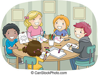 Age Diversity - Illustration of a Group of Kids of Different...