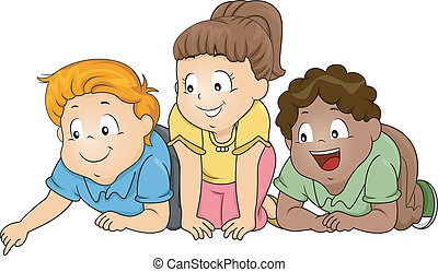 Look Down - Illustration of a Group of Kids Looking...