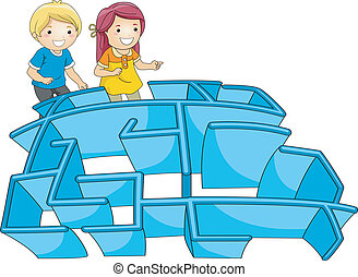 Kids Maze - Illustration of a Pair of Kids Entering a Maze