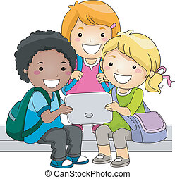 Tablet Kids - Illustration of a Group of Kids Checking a...