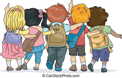 Look Up - Back View Illustration of a Group of Kids Looking...