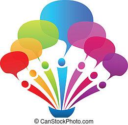 Business network speech bubbles logo vector
