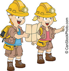 Siblings Adventure Map - Illustration of a Pair of Siblings...