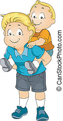 Piggyback Siblings - Illustration of a Big Brother Giving...