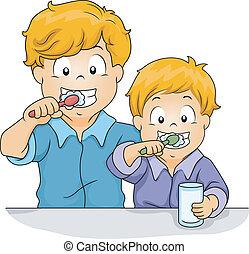 Toothbrush Siblings - Illustration of Male Siblings Brushing...