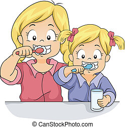 Toothbrush Siblings - Illustration of Female Siblings...
