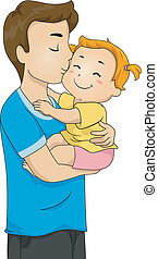 Father and Baby Kiss - Illustration of a Doting Father...