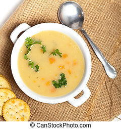 Fresh potato cream soup - Baked potato cream soup with...