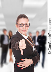 Business team at the office - Businesswoman thumb down in...