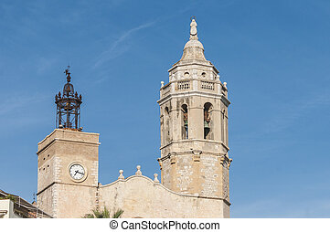 Sant Bartomeu i Santa Tecla church at Sitges, Spain - Sant...