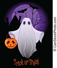 Trick or Treating Ghost - Halloween invitation of Trick or...