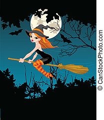 Halloween Witch banner - Halloween Witch flying on broom...