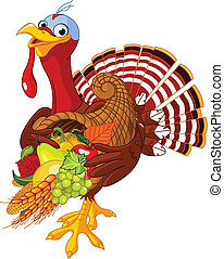 Turkey with cornucopia - Funny turkey with horn of plenty
