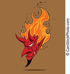 rojo, Diablo, Halloween, monstruo