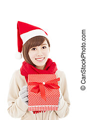 happy asian young woman with christmas gift box