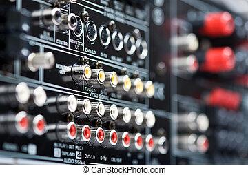 Hi-Tech AV receiver's connectors - Closeup of back side...