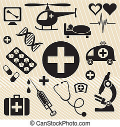 Medical icons - Set of black medical and science icons on a...