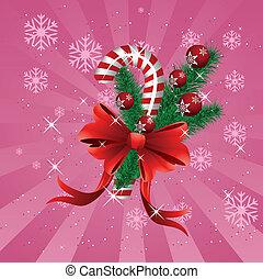 クリスマス, キャンデー, 杖, ピンク, 背景