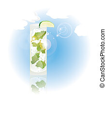 Glass of mojito - Illustration of glass of mojito against...