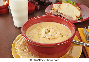 Soup and sandwich - Cheesy chicken soup con queso with a...