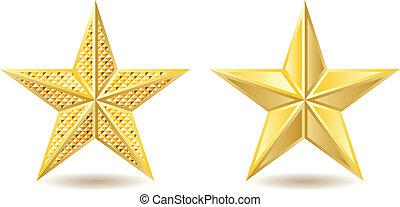 Golden stars - Two shiny golden stars on white background.
