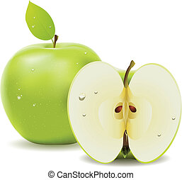 Green apple and half of apple - Fresh green apple with leaf...