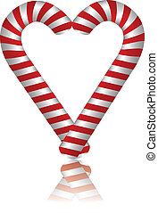 Lovely candy cane - Illustration of heart made from candies...