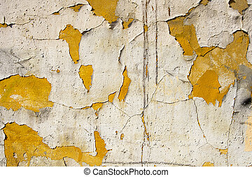 Cracked Concrete Vintage Wall Background - Old orange and...