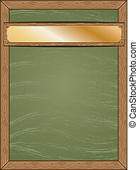 Menu chalkboard with gold table - Cartoon green chalkboard...