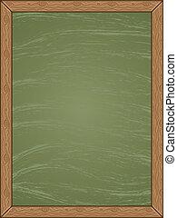Menu Chalkboard - Cartoon green chalkboard with wooden frame...