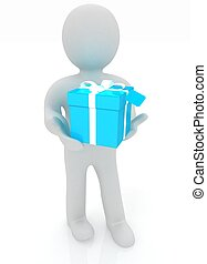 3d man gives gift on a white background