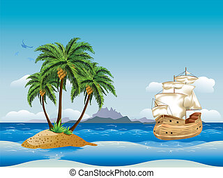 Old ship in the sea - Cartoon vintage wooden ship under full...