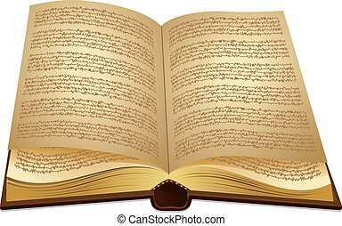 Open ancient Book - Old book open illustration on white...
