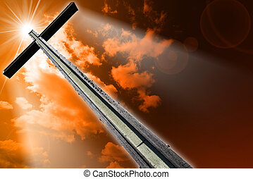 Cross Against the Orange Sky