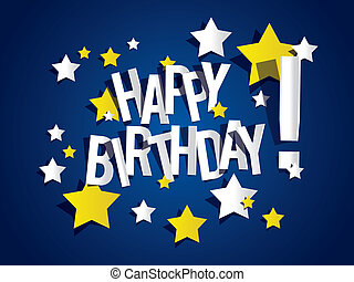 Happy Birthday card with stars vector illustration