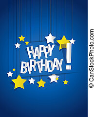 Happy Birthday card with hanging stars vector illustration