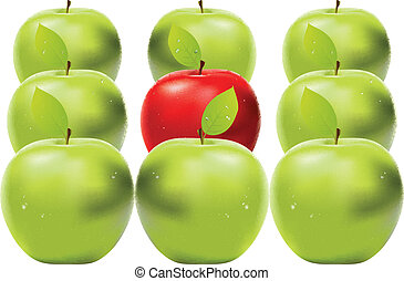 Red apple among green apples - Fresh red apple between green...